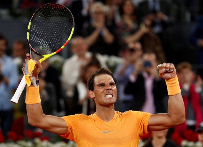 Spain's Rafael Nadal celebrates winning his third round match against Argentina's Diego Schwartzman REUTERS Photo