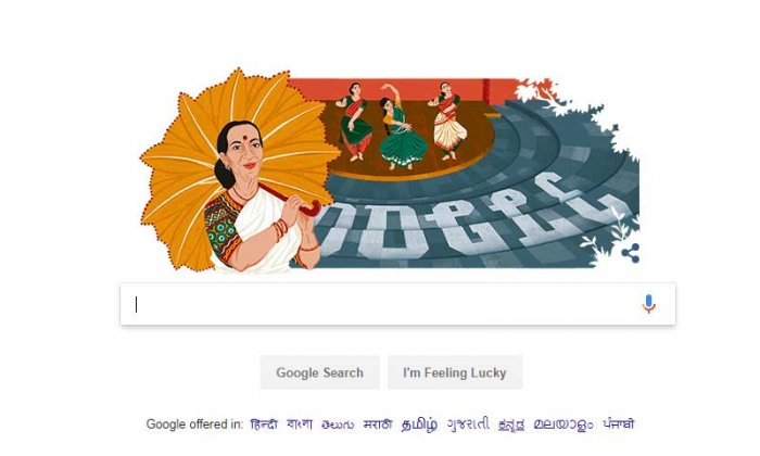 The search engine giant Google celebrates Mrinalini Vikram Sarabhai's 100th birthday with an impressive doodle. Screen Grab