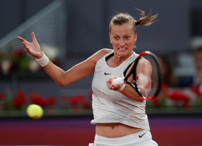 POWERFUL: Czech Republic's Petra Kvitova returns during her win over compatriot Karolina Pliskova in the Madrid Open semifinal. Reuters