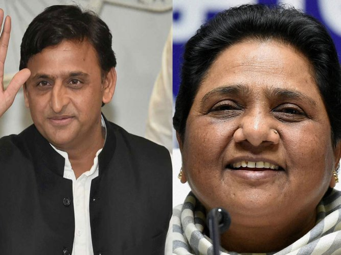 Bahujan Samaj Party (BSP) supremo Mayawati and Samajwadi Party (SP) national president Akhilesh Yadav. PTI file photos