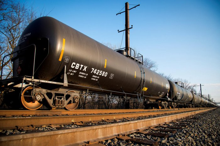 A crude oil train sits parked outside the Philadelphia Energy Solutions refinery owned by the Carlyle Group in south Philadelphia. REUTERS