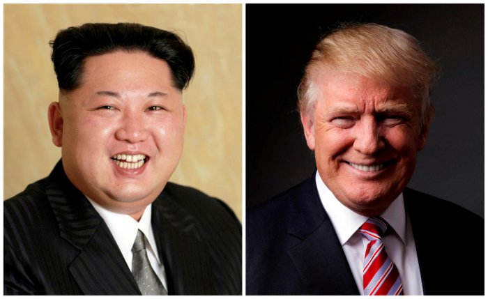 A combination photo shows a Korean Central News Agency (KCNA) handout of Kim Jong Un released on May 10, 2016, and Donald Trump posing for a photo in New York City, U.S., May 17, 2016. REUTERS/KCNA handout via Reuters/