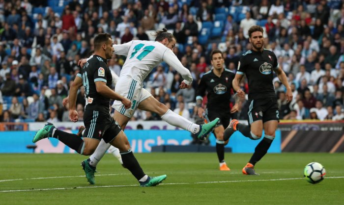 Real Madrid's Gareth Bale scores against Celta Vigo in La Liga on Saturday. Reuters.