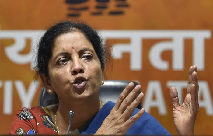 Union Defence Minister Nirmala Sitharaman speaks during the press conference at BJP Headquarters in New Delhi on Sunday. PTI Photo