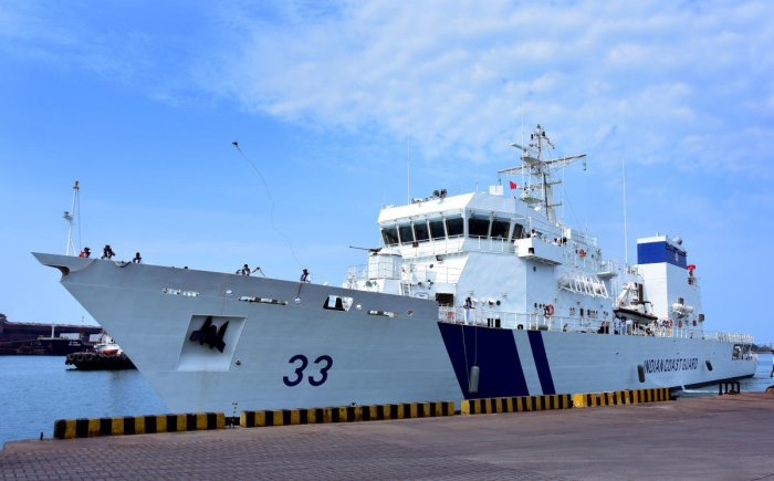 A view of the Indian Coast Guard Ship Vikram in Mangaluru on Sunday.