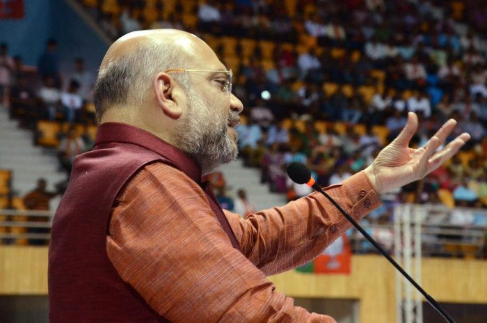 BJP National President Amit Shah addresses party workers near Panaji, Goa on Sunday. PTI Photo