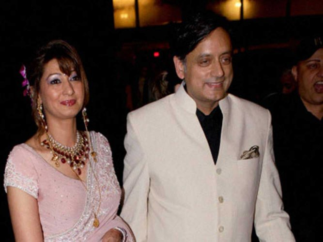This file photo shows Shashi Tharoor with his wife Sunanda Pushkar.