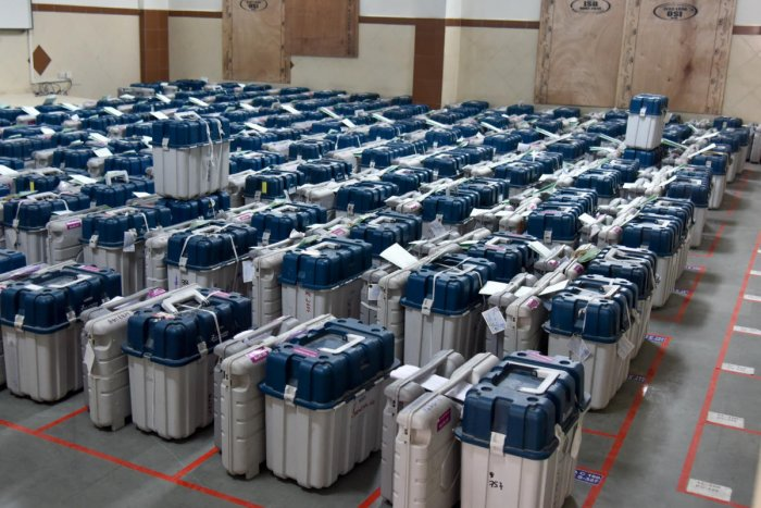 The EVMs and VVPAT machines used for the Shivajinagar constituency are kept in a strong room at Mount Carmel College, Bengaluru on Sunday. dh photo