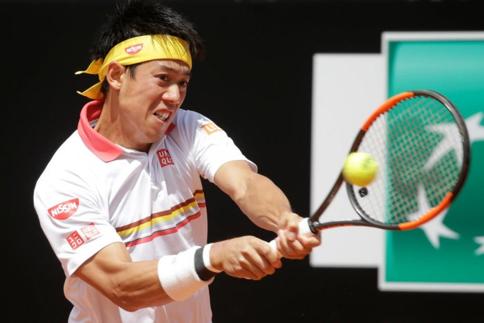 Japan's Kei Nishikori during his first-round win against Spain's Feliciano Lopez. REUTERS