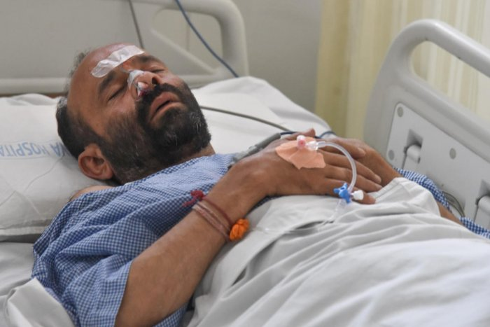 Vedavasya Bhat, former BJP Corporator and worker, who has been attacked and admitted Abiya Hospital in Bengaluru on Monday. Photo by S K Dinesh