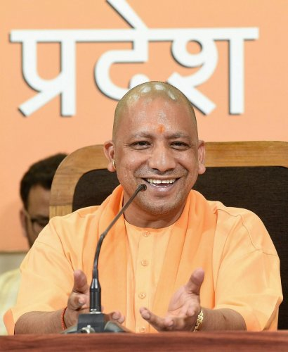 Uttar Pradesh Chief Minister Yogi Adityanath addresses a press conference at BJP office in Lucknow.