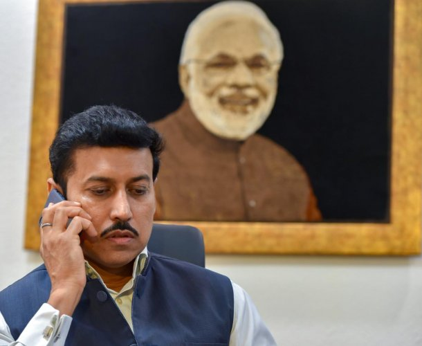 Rajyavardhan Rathore after taking charge as Minister of Information and Broadcasting following Monday's Cabinet reshuffle, in New Delhi on Tuesday. PTI