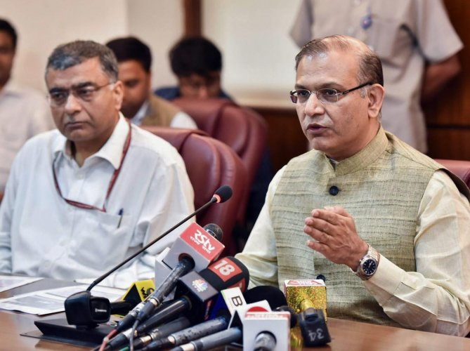 MoS for Civil Aviation Jayant Sinha addresses a press conference on 'Prospective Investment Plan of Central Govt. on Upgradation & Development of AAI Airports' in New Delhi on Wednesday.