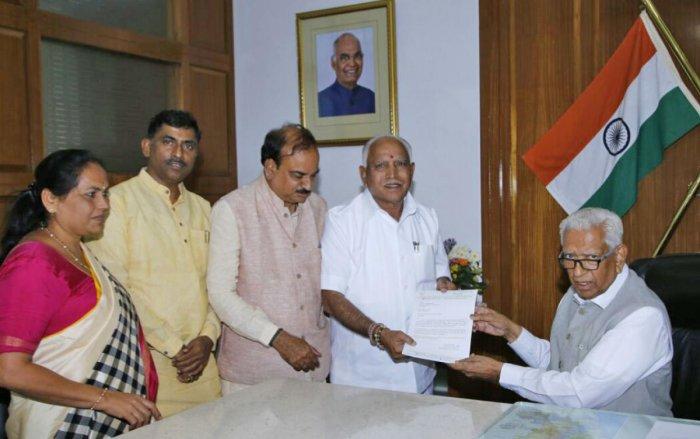 BJP leaders B S Yeddyurappa, Ananthkumar, Madhusudhan and Shobha Karandlje met Governor Vajubhai Rudabhai Vala at Raj Bhavan in Bengaluru on Tuesday.