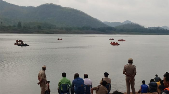 Accident spot where a boat carrying over 50 passengers capsized on Tuesday in Andhra Pradesh