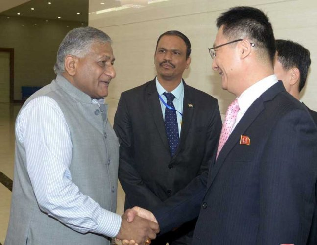 Singh's visit to Pyongyang on Tuesday and Wednesday was the first by an Indian minister in two decades. Mukhtar Abbas Naqvi, who was minister of state for information and broadcasting in the then A B Vajpayee government, was the last Indian minister to visit North Korea in September 1998 to attend the 6th Pyongyang film festival. Picture courtesy Twitter