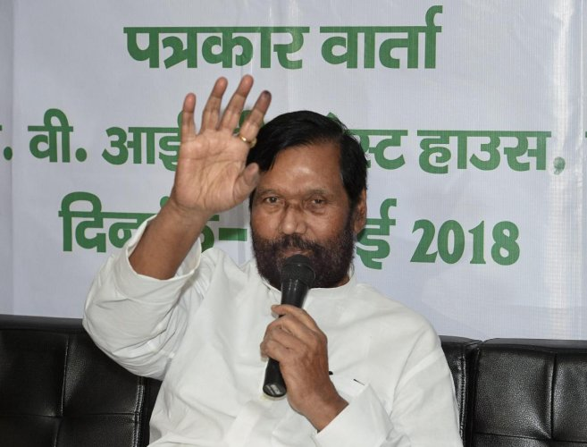 Union Minister Ram Vilas Paswan addresses a press conference in Lucknow on Thursday. PTI Photo