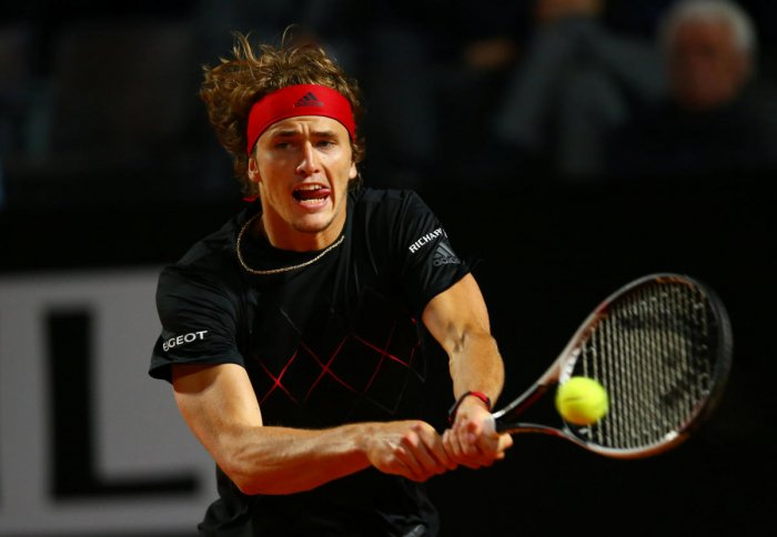 Germany's Alexander Zverev returns during his win over Italy's Matteo Berrettini. Reuters