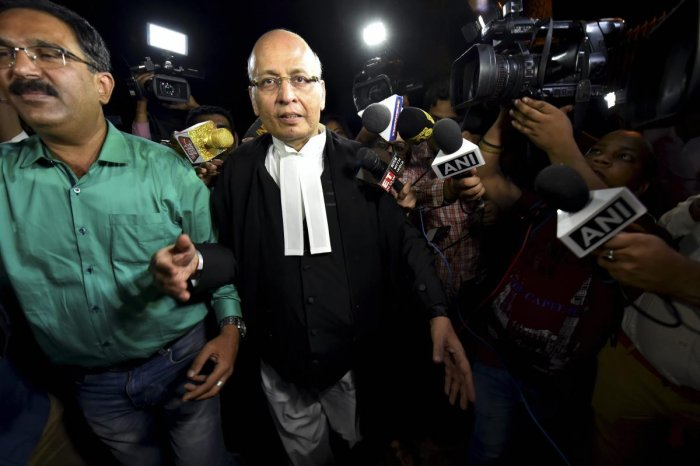 Senior Congress leader Abhishek Singhvi arrives at Supreme Court for the hearing of Congress & JD(S) petition challenging Karnataka Governor's decision in New Delhi on Thursday.PTI Photo