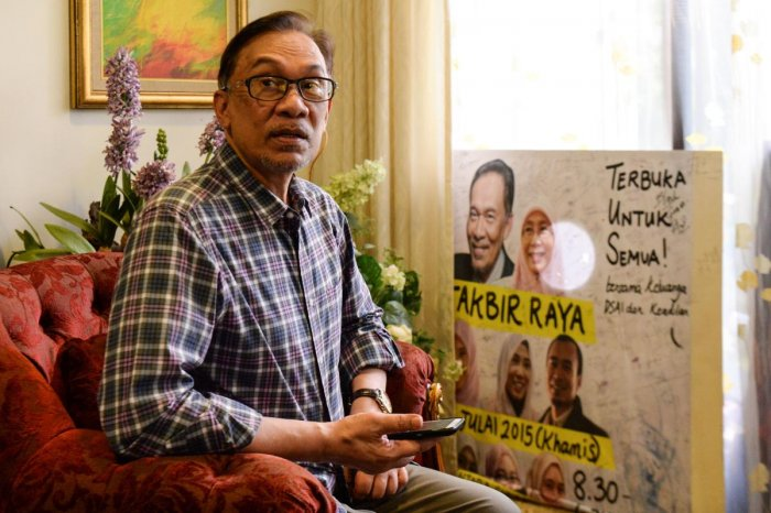 Leader of the Pakatan Harapan coalition, Anwar Ibrahim at his house in Kuala Lumpur on Thursday. AFP