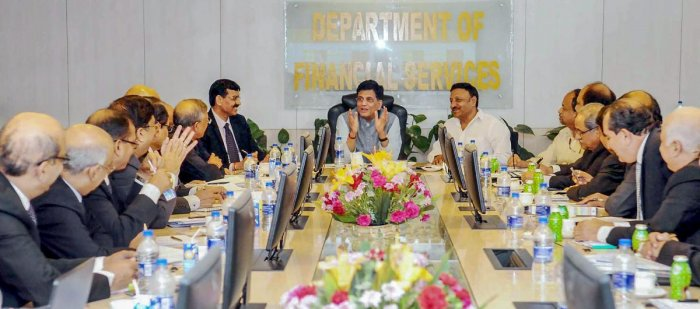 Union Minister for Finance and Corporate Affairs Piyush Goyal holds a review meeting with the CMDs of banks under Prompt Corrective Action (PCA), in New Delhi on Thursday. Department of Financial Services Secretary Rajeev Kumar is also seen.