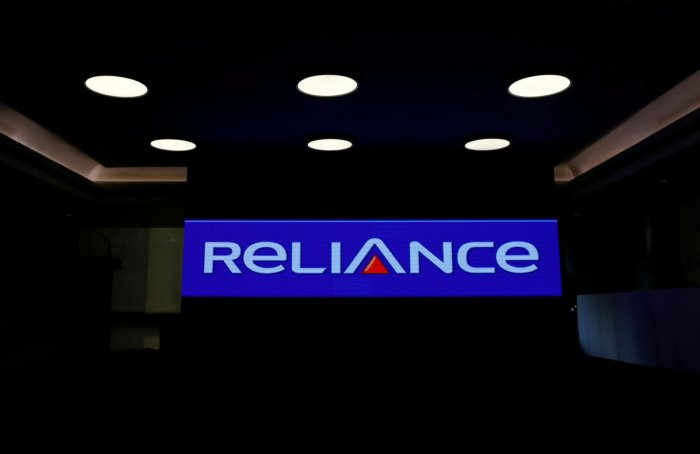 FILE PHOTO: A logo of Reliance Group is seen at Reliance Center in Mumbai, India, December 26, 2017. REUTERS/Danish Siddiqui/File Photo