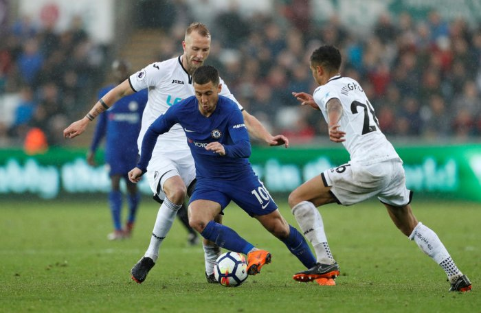 MAGICIAN Chelsea's Eden Hazard (centre) will be a real threat to Manchester United in the FA Cup final. Reuters