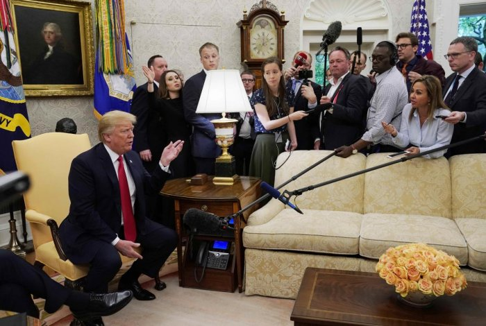 US President Donald Trump speaks to the news media as he meets with NATO Secretary General Jens Stoltenberg at the White House in Washington on Thursday. REUTERS