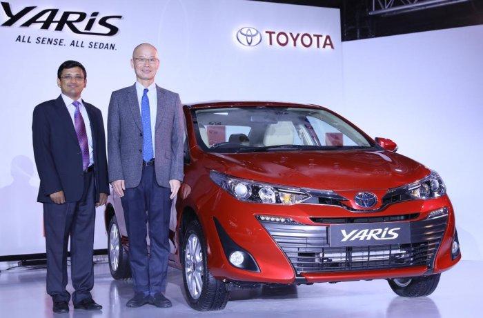 Senthil Kendai, General Manager, Toyota Kirloskar Motor and Akito Tachibana, Managing Director, Toyota Kirloskar Motor at the launch of Toyota Yaris in Bengaluru on Friday.