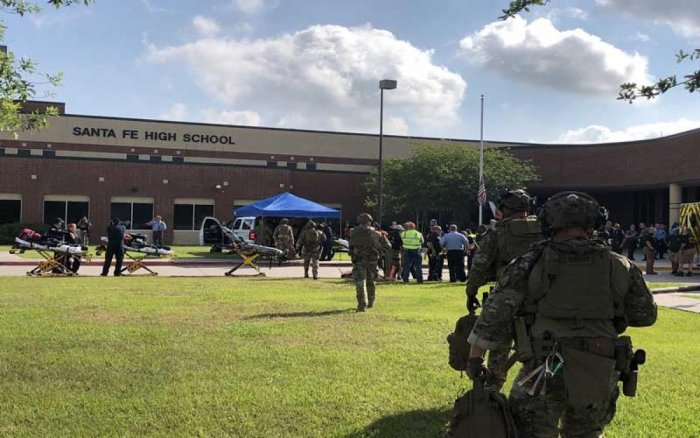 The gunman, arrested on murder charges, was identified as Dimitrios Pagourtzis, a 17-year-old junior at Santa Fe High School.