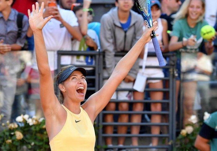 SENDING A MESSAGE Russia's Maria Sharapova celebrates after her quarterfinal win over Latvia's Jelena Ostapenko on Friday. AP/PTI