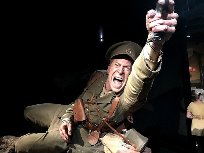 A life-size exhibit recalls the Gallipoli War.