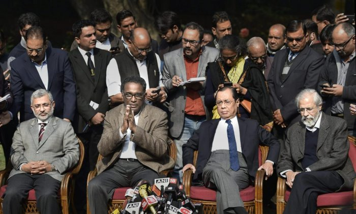 Senior Supreme Court judge Justice J Chelameswar addresses a press conference in New Delhi on Friday. He is flanked by Justice Kurian Joseph (left), Justice Ranjan Gogoi (second right) and Justice Madan Lokur (right). PTI file photo