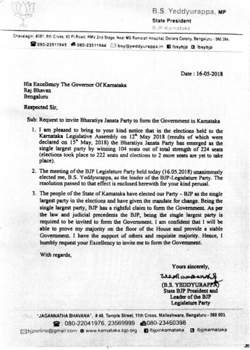 Copy of the letter addressed by B S Yeddyurappa to the Governor with a request to invite him for forming the government.