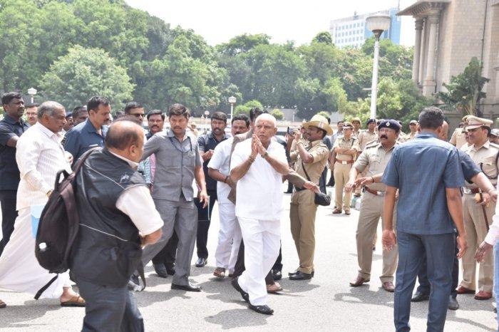 CM B S Yeddyurappa arrives at Vidhan Soudha. DH photo
