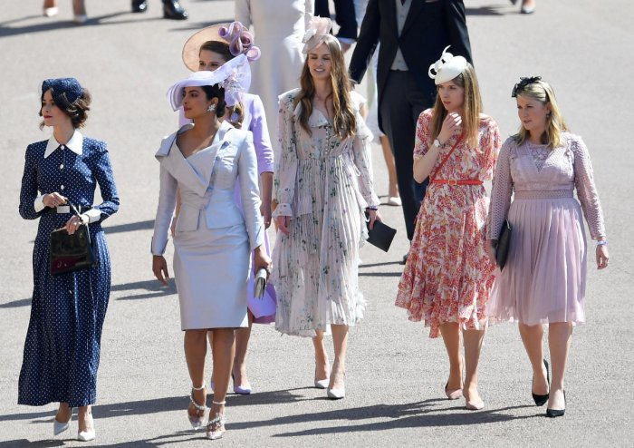Priyanka Chopra arrives with other guests to the wedding of Prince Harry and Meghan Markle in Windsor. REUTERS