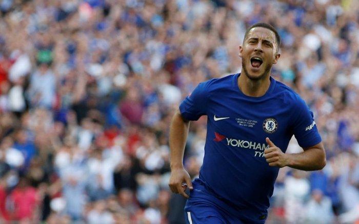 Eden Hazard celebrates his goal.