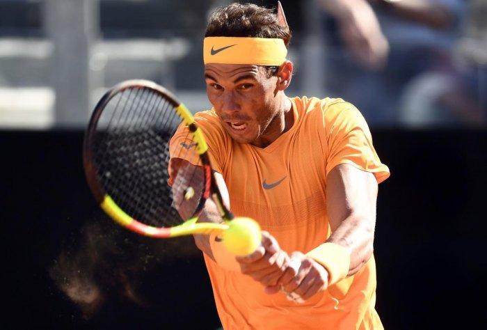 Rafael Nadal en route to his win against Novak Djokovic.