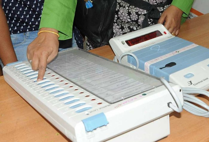 The machines, with the help of which voters can confirm whether their choice has been registered in the EVM, were found in the shed meant for national highway workers. DH file photo