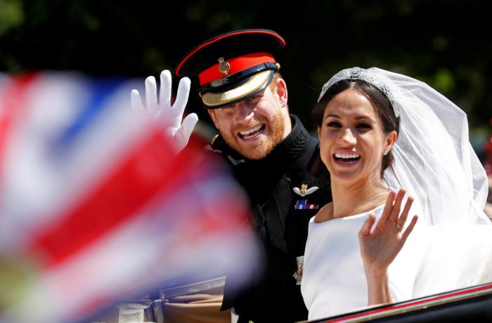 The pictures were all shot at Windsor Castle after Prince Harry and Meghan Markle completed their carriage procession around Windsor city centre as husband and wife. Reuters photo
