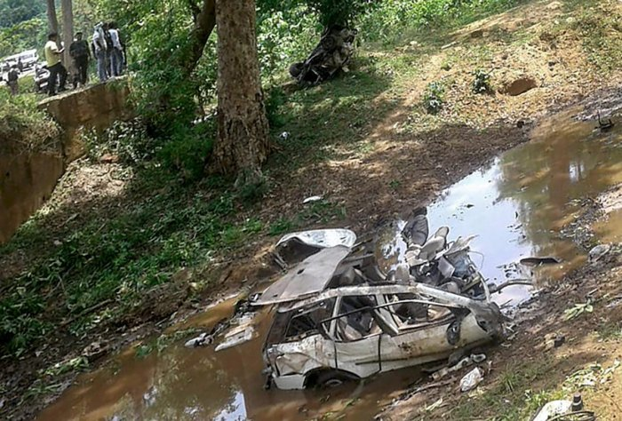 Mangled remains of the police vehicle which was blown up by Naxals with an Improvised Explosive Device (IED) in Dantewada district of Chhattisgarh on Sunday. (PTI Photo)