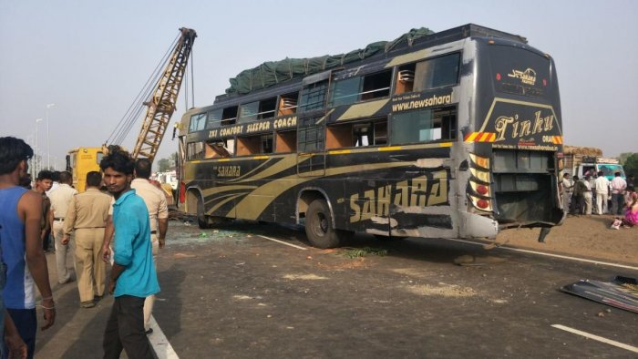 The private bus was on its way to Ahmedabad in Gujarat from Banda in Uttar Pradesh when it hit the truck's rear side on a road near Ruthiyai town around 4.30 am. (Image courtesy: @bhopalkibittan/Twitter)