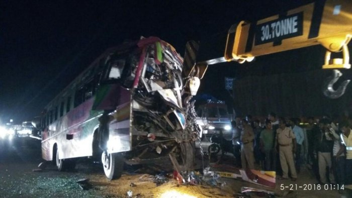 Hanuman Travels bus that collided with a parked truck on NH-48 killing seven people and injuring 16 others at Sira on Sunday night. DH photo.