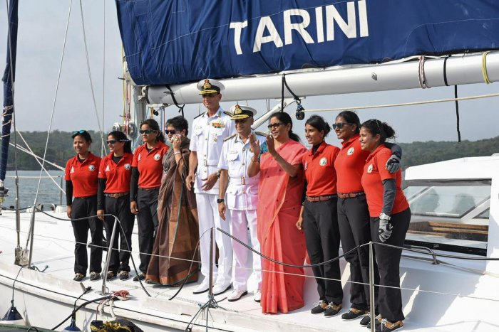 Union Defence Minister Nirmala Seetharaman with Indian Navy chief Admiral Sunil Lanba greet the Navy's six-member all-women crew of INSV Tarini, who circumnavigated the globe in over eight months, at Panaji in Goa, on Monday. PTI
