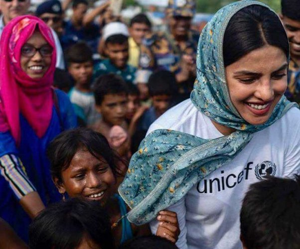 The 35-year-old Bollywood star, who is in on a field visit to Bangladesh, said the world needs to come together to give Rohingya refugee kids a secure future.