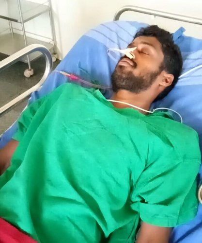 BJP and BSY follower Suresh Pujari who attempted suicide on Monday night. DH photo.