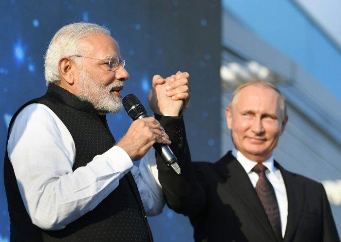 Sochi : Prime Minister Narendra Modi meeting the President of Russian Federation, Vladimir Putin, at Sochi, Russia on Monday.(PTI Photo/PIB)