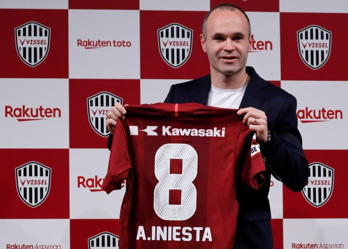 Andres Iniesta with his new jersey after signing for Vissel Kobe in Tokyo.