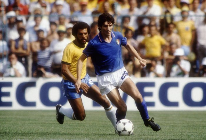 Italy's Paolo Rossi in action against Brazil in the 1982 World Cup.
