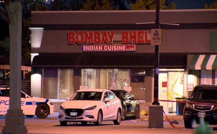 Two suspects with their faces covered entered the Bombay Bhel restaurant late last night, dropped the device and fled, police said. Photo via twitter, courtesy @JeremyGlobalTV.